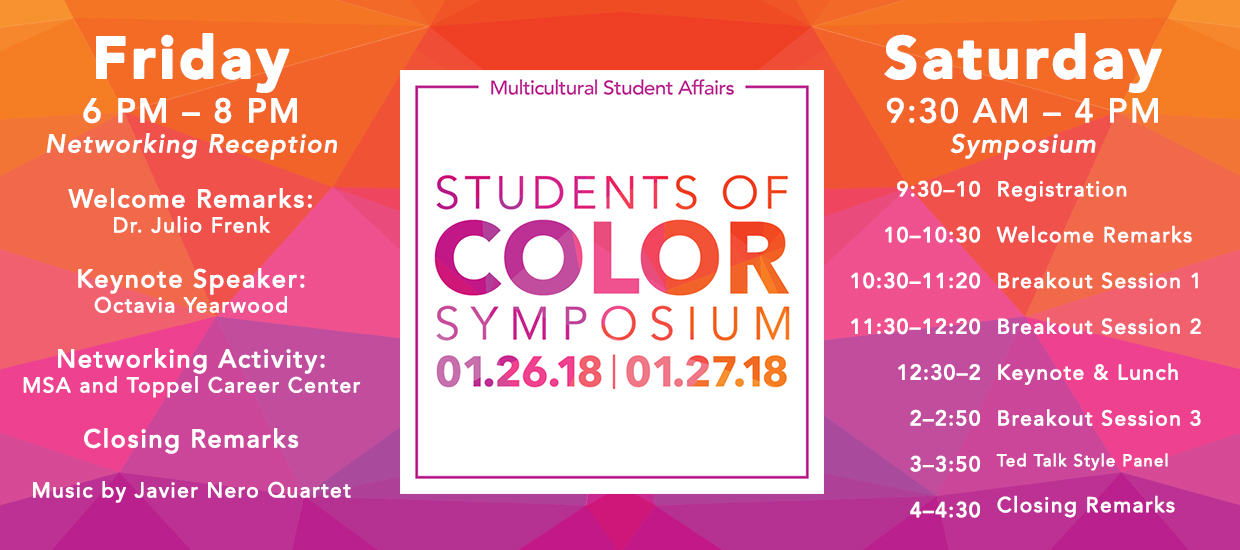 Students of Color Symposium banner with details highlighting the schedule on January 26 and 27